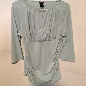 Ann Taylor Mint Green Rouched 3/4 sleeve blouse
